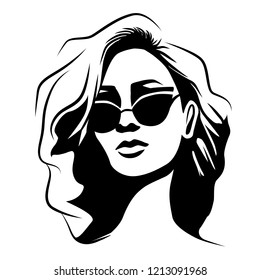 Woman with curly hair wearing butterfly sunglasses. Black and white style portrait. Vector illustration. Eps 10.