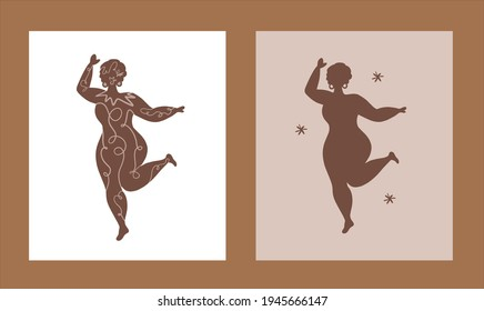 Woman curvy isolated minimal style.Afro model profile countour.Simple fashion african poster.hand drawn diverse equal face. Ethnic unity facial tolerance.beauty vector head. silhouette model dancer