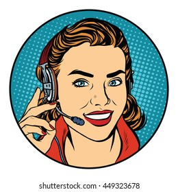 Woman customer support operator. Pop art retro vector, realistic hand drawn illustration. The smile on the face