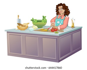Woman cutting vegetables at kitchen. Kitchen scene.