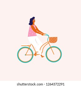 Woman cycling a bicycle cartoon travel illustration in vector