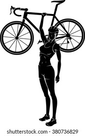 Woman Cyclist Lifting her Bicycle