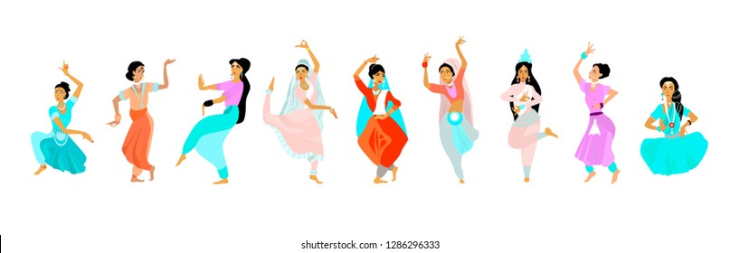 Woman dance in national indian cloth