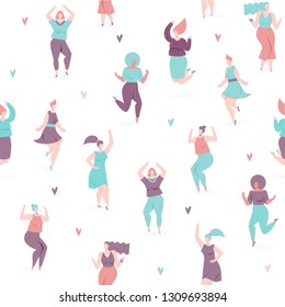 Woman dance, vector seamless pattern with dancing and jumping girls