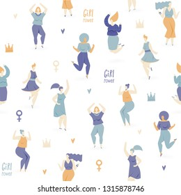 Woman dance, vector seamless pattern with dancing and jumping girls, feminism concept