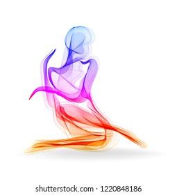 Woman dancer, ballerina, elegant silhouette, modern fashion illustration
