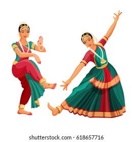 Woman dancer in national indian cloth dancing Bharatanatyam folk dance