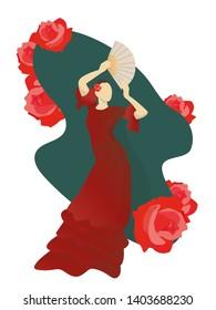 Woman dancing flamenco vector illustration.