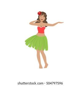 Woman Dancing Hula Hawaiian Vacation Classic Symbol