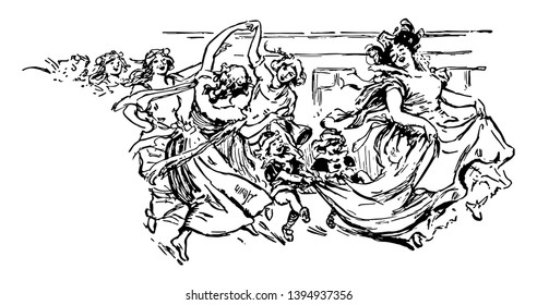Woman Dancing is moves during a break and beauty or death and desire it have soulful articulation of unspoken truths vintage line drawing or engraving illustration.