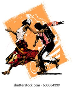 Woman dancing with a trumpet player - vector illustration