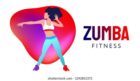 Woman dancing Zumba in fitness studio. Trendy flat style vector illustration. Aerobic fitness.