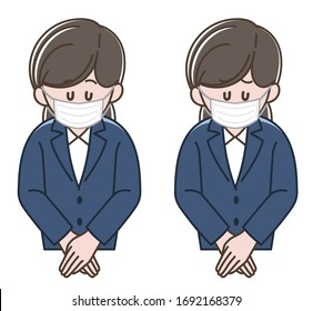 Woman in a dark blue suit bowing with a surgical mask, Vector illustration set