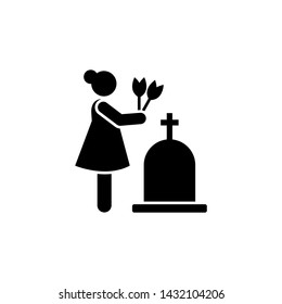 Woman dead funeral sorrow flower icon. Element of pictogram death illustration