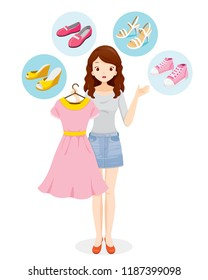 Woman Decide Selecting The Right Shoes For Her Clothing, Footwear, Fashion, Objects