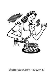 Woman Decorating Cake - Retro Clip Art