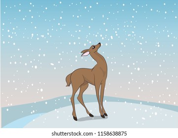 woman deer, vector, outdoors, deer, standing under the snow