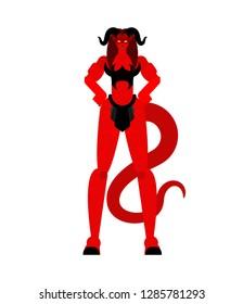 Woman demon Warrior. Strong Female devil. berserk Succubus red. lady satan. Hell warriors. Vector illustration