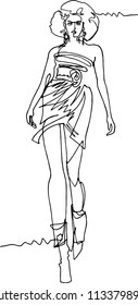 Woman demonstrating dresses walking along the catwalk illustration one continuous line lush hairdress short dress bare feet boots sweeping gait modern style ..