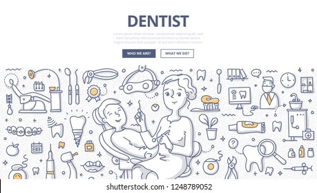 Woman dentist and patient during dental procedure. Dental office, tools and equipment. Doodle concept of dentistry for web banner, hero images and printing materials