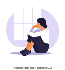 Woman in depression with bewildered thoughts in her mind. Young sad girl sitting in window and hugging her knees. Flat style