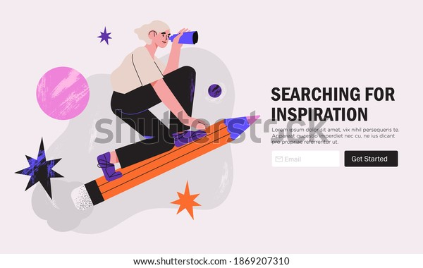 Woman designer flying on pencil . Creative or educational process banner, ad, landing page or poster for web design studio, startup or courses. Generating ideas, imagination, inspiration concept.