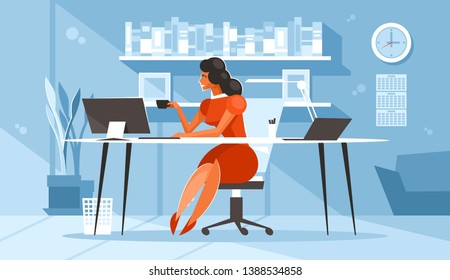 Woman at the desk is drinking coffee. Businesswoman in the workplace