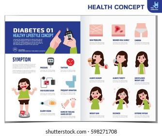 Diabetes Brochure Template   Fat Man Diabetes Diabetic Infographics Elements Stock Vector
