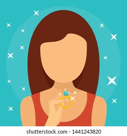 Woman diamond ring concept background. Flat illustration of woman diamond ring vector concept background for web design