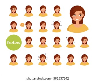 Woman with different emotions. Joy, sadness, anger, talking, funny, fear, smile. Set.  Isolated illustration on white background. Vector. Cartoon. Flat. Face expressions