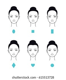 Woman different face shapes and types. Vector illustration.