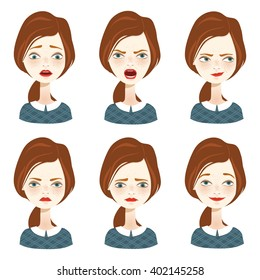 Woman with different facial expressions set. Vector illustration.