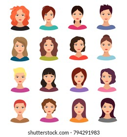 Woman with different hairstyle. Beautiful young female faces vector avatar set. Cartoon female avatar with hairstyle illustration