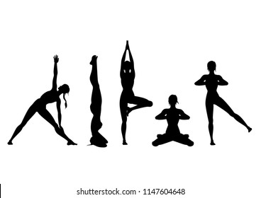 Woman in the different yoga positions. Silhouettes.  Available in a vector format.