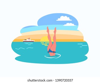 Woman diving legs up, dive in bikini suit at sunset, ship or yacht on background. Vector girl legs in trunks, snorkeling lady in water at summer resort
