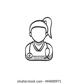 Woman doctor icon in doodle sketch lines. Medical healthcare stethoscope