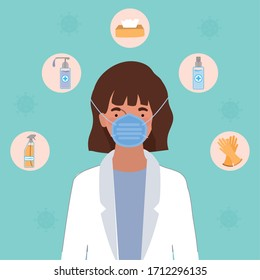Woman doctor with mask and hygiene products against 2019 ncov virus design of Covid 19 cov infection disease symptoms and medical theme Vector illustration