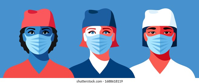 Woman as doctor or nurse. Set of female characters in medical uniform and face masks. Coronavirus epidemic. Vector illustration