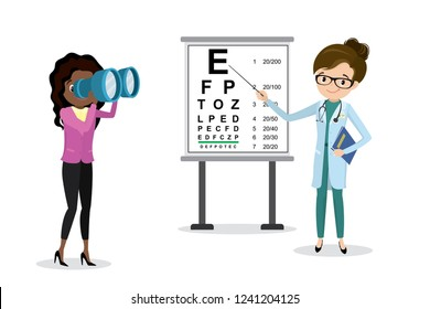 Woman Doctor optometrist examines vision,female with binoculars,Snellen Eye Chart,health care vector illustration,flat design isolated on white background
