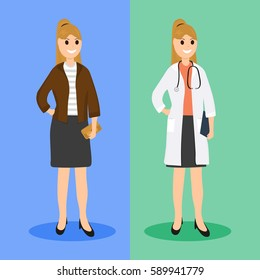 Woman doctor in ordinary life, flat design.