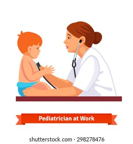 Woman doctor pediatrician examines a child. Listens to his chest with stethoscope. Flat style vector illustration isolated on white background.