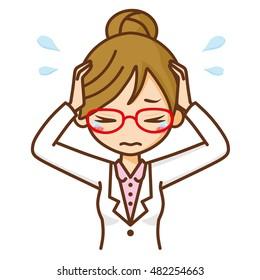 Woman doctor sad.