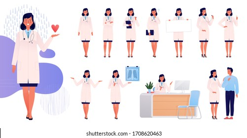Woman doctor. Set character in various poses and situations. Doctor mascot for design and animation
