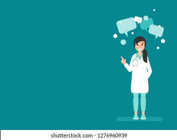 Woman doctor with speech bubbles on blue background. Medical internet consultation.  Healthcare consulting web service.  Hospital support online. Computer doctor. Ask doctor. Vector flat illustration