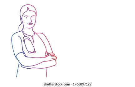 Woman doctor stand with his arms crossed. Rainbow colours in linear vector illustration.
