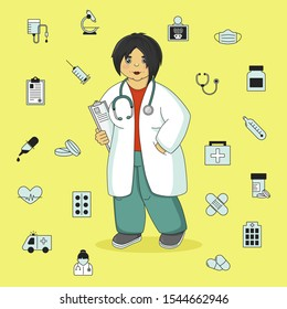 Woman doctor in uniform. Medicine, profession and health care. Medical icons set. Collection of medicine symbols. Medical instrument and health signs.