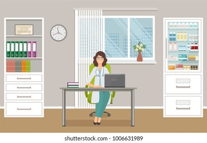Woman doctor in uniform sitting at the desk in doctor's office. Medical consulting room interior. Medicine employee character waiting fo patients in clinic. Vector illustration.