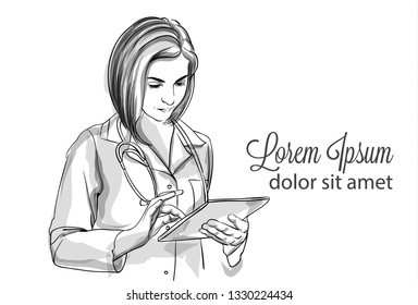 Woman doctor writing notes Vector sketch storyboard. Detailed character illustrations