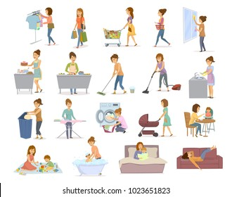 woman does household activities, washing, cleaning, make laundry, cooking, baking, shopping, irons, sorting garbage, take care of child, bathing, feeding, playing teaching, lying exhausted on sofa