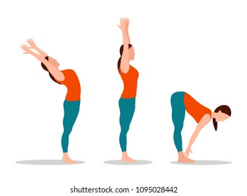 Woman does yoga set, mountain with raised hands, physical activities and sport, position touching toes cartoon vector illustration isolated on white